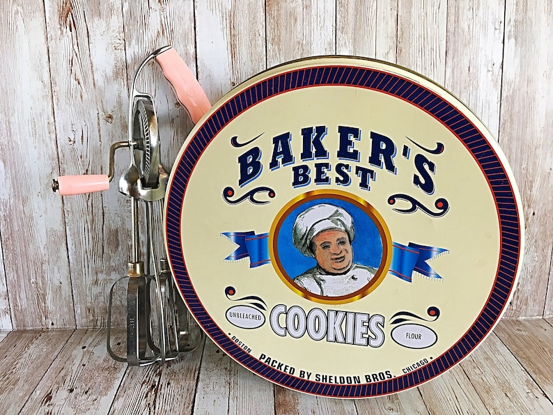 Bakers Best Tin Vintage Chef Tin Bakers Best Cookie Tin image 0