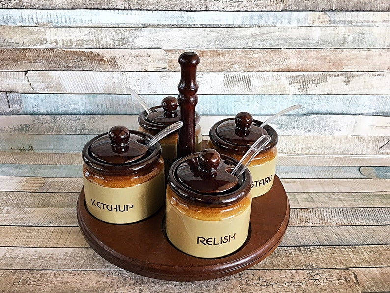Vintage Lazy Susan Condiment Tray with Covered Jars Wood Lazy image 0