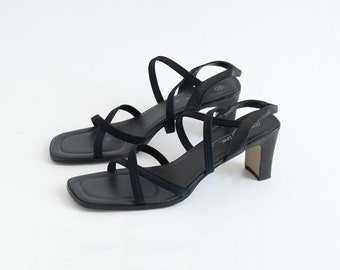 0b92c4a51af 90s Strappy Square Toe Sandals   Heels   Tag Size 10