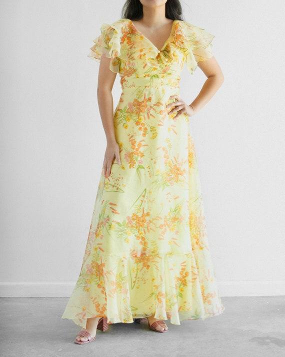"""60s Floral Ruffle Dress / 28"""" waist"""