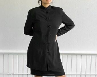 90s Chinese Knot Dress / Black Midi Mandarin Collar Dress / Fits up to a Large