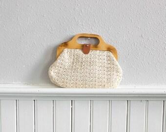 70s Wood n Weave Handbag