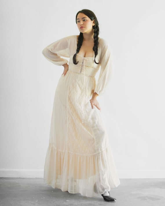 "70s Prairie Princess Dress / 25"" Waist"
