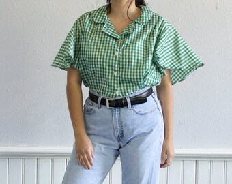 70s Green Gingham Button Up Blouse / Fits up to an XXLarge