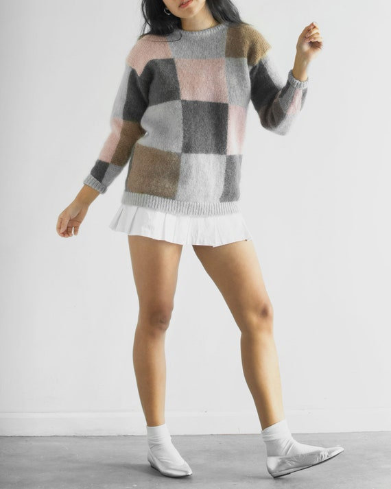 80s Checkerboard Sweater / Tag Size Large