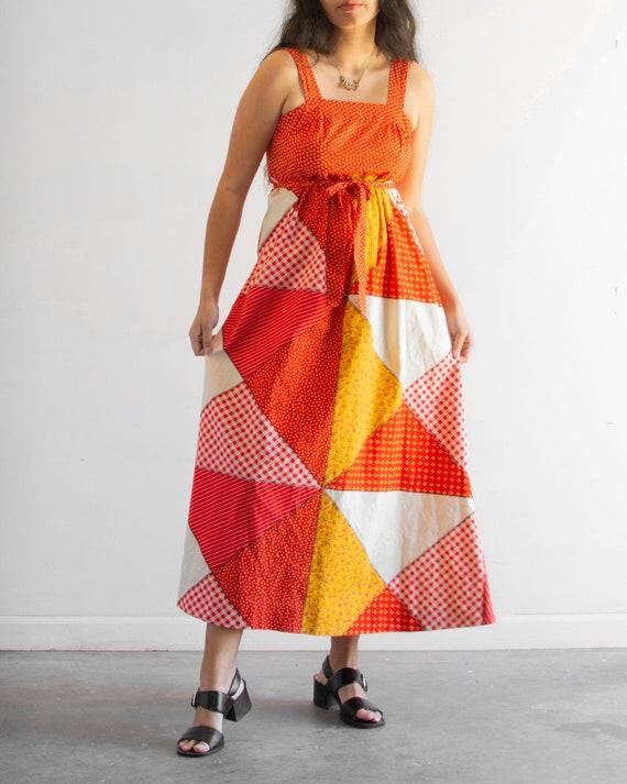 60s Patchwork Maxi Dress / Vintage Floral - image 1