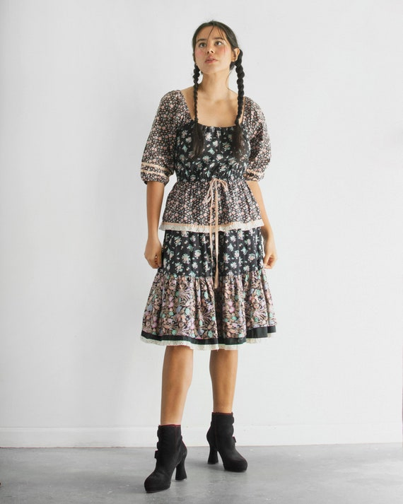 70s Floral Patchwork Dress / One of a Kind