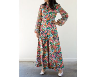 70s Flower Power Palazzo Jumpsuit / Floral Wide Leg One Piece / Medium