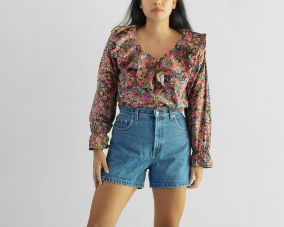 80s Floral Poet Blouse / Tag Size Medium