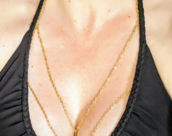 Stainless Steel Body Chain, Sterling Silver, Body Chain, Metal Bralette, Layered Bralette, Body Harness, Body Jewelry, Layered Body Chain