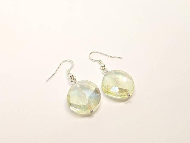 Crystal Earrings Silver Earrings Round Crystals Yellow Earrings Champagne Crystal Earrings Crystal Earrings Drop Earrings