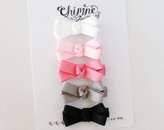 Baby Hair Bows, Baby Hair Clips, Hair Clips For Baby, BEST SELLER, Pink Black White Gray Hair Bow Clips, Toddler Girl, Infant Hair Clips