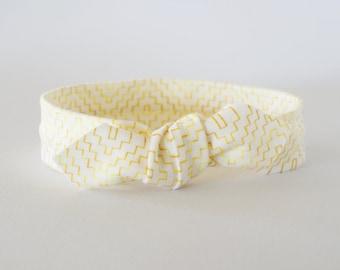 Gold Chevron Knot Headband / Baby Turban Headband / Baby Topknot / Baby Headband / Tie Headband / White Knotted Headband