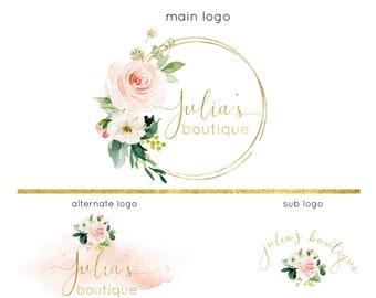 Premade Logo Design, Photo Watermark Logo, Floral Wreath Logo, Business Logo and Branding Kit, Website Watercolor Logo, Modern Boho Logo