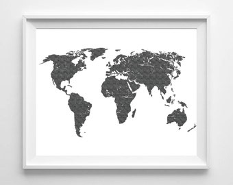 World Map Print Printable Black White Wall Art 11x14 Distressed World Map  Minimalist Poster Scandinavian Poster Monochrome Instant Download