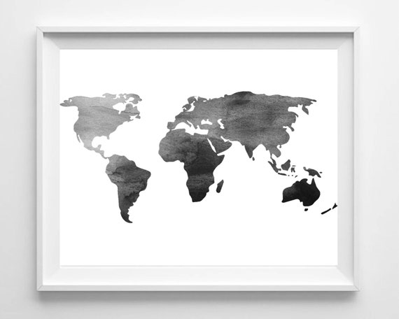 Black And White World Map Framed.Watercolor World Map Print Printable Black White Wall Art Etsy