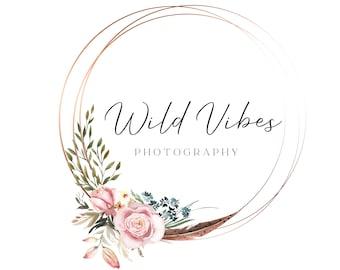 Photography Logo Design, Watermark Logo, Modern Boho Logo, Floral Logo, Boutique Business Logo, Elegant Logo, Custom Logo, Beauty Logo