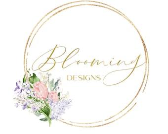 Floral logo and watermark, premade logo design, floral branding kit, photography logo and watermark, gold boutique logo elegant wedding logo