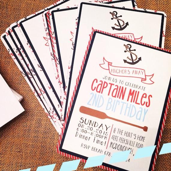 Nautical Birthday Invitation Customized Printed On Heavy