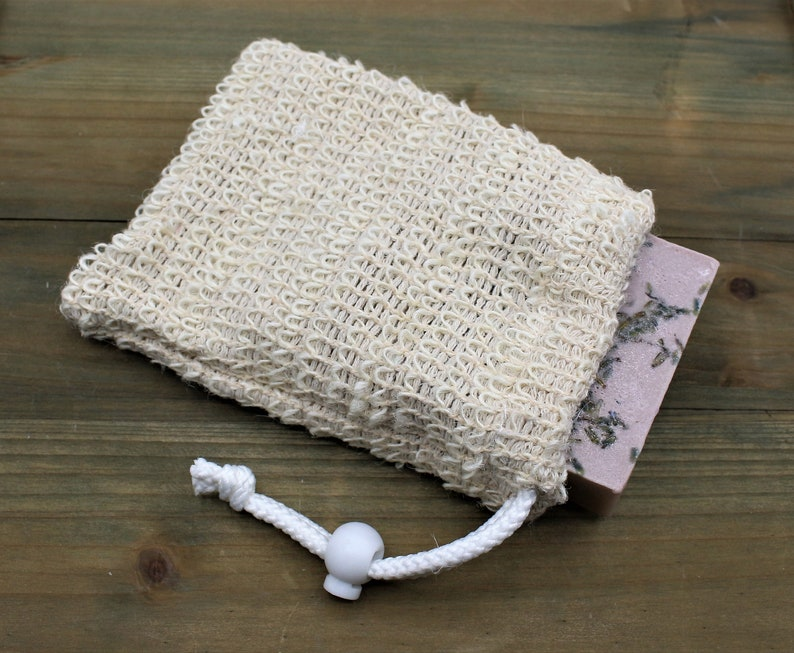Natural Sisal Soap Pouch Exfoliating Soap Sack Made with image 0