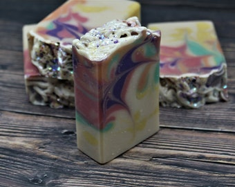 UNICORN VIBES Handmade Soap Bar, Triple Butter Soap with Natural Fragrance, Coconut Milk Soap, Fun and Fruity, Vegan Handcrafted Soap