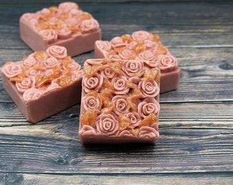 Sandalwood Rose Handcrafted Natural Shea Butter Soap Bar, Natural Fragrance, Handmade Artisan Soap, Vegan, Zero Waste