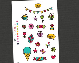 Fun Day 2  - Planner Stickers -  Repositionable Matte Vinyl  - Suits All Planners