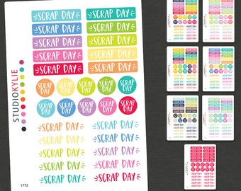 Scrap Day Planner Stickers -  Scrapbook Day Stickers - Repositionable Matte Vinyl