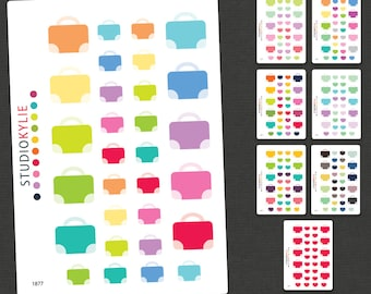Luggage and Travel Icons - Planner Stickers - Removable Matte Vinyl -