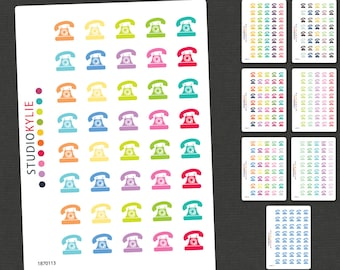 Telephone Icons - Planner Stickers - Removable Matte Vinyl