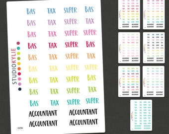 BAS Tax Accounting Planner Stickers - Repositionable Matte Vinyl to suit all planners