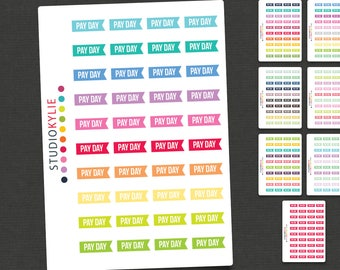 Pay Day Flags -  Planner Stickers  - Repositionable Matte Vinyl for all Planners