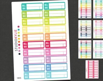 Bill Due Planner Stickers - Repositionable Matte Vinyl