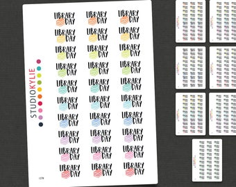 Library Day Stickers - Repositionable Matte Vinyl to suit all planners