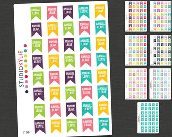 Annual Leave Flag Planner Stickers  - Repositionable Matte Vinyl