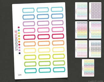 Scallop Box Planner Stickers -  Repositionable Matte Vinyl - Smaller Size Suits all Planners