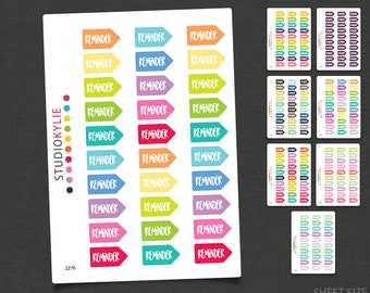 Reminder Planner Stickers -  Repositionable Matte Vinyl - Suits all Planners