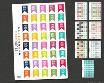 Pay Day Planner Stickers  - Repositionable Matte Vinyl