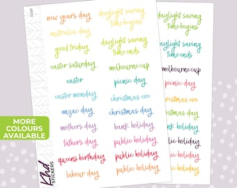 Australian Events and Public Holidays Stickers - Planner Stickers - Removable