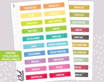 Australian Events & Public Holidays Planner Stickers - Planner Stickers - Removable