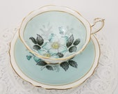 Light Turquoise Green Double Warrant Paragon Teacup and Saucer, Blue Scarlet Pimpernel Flower, Made in England, 1939 to 1949, British Tea