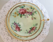 Double Warrant Paragon Teacup Saucer, Light Green, Pink Cabbage Roses, Floral Bouquet, Fine English China, Gold Gild, 1952-1960, Tea Party
