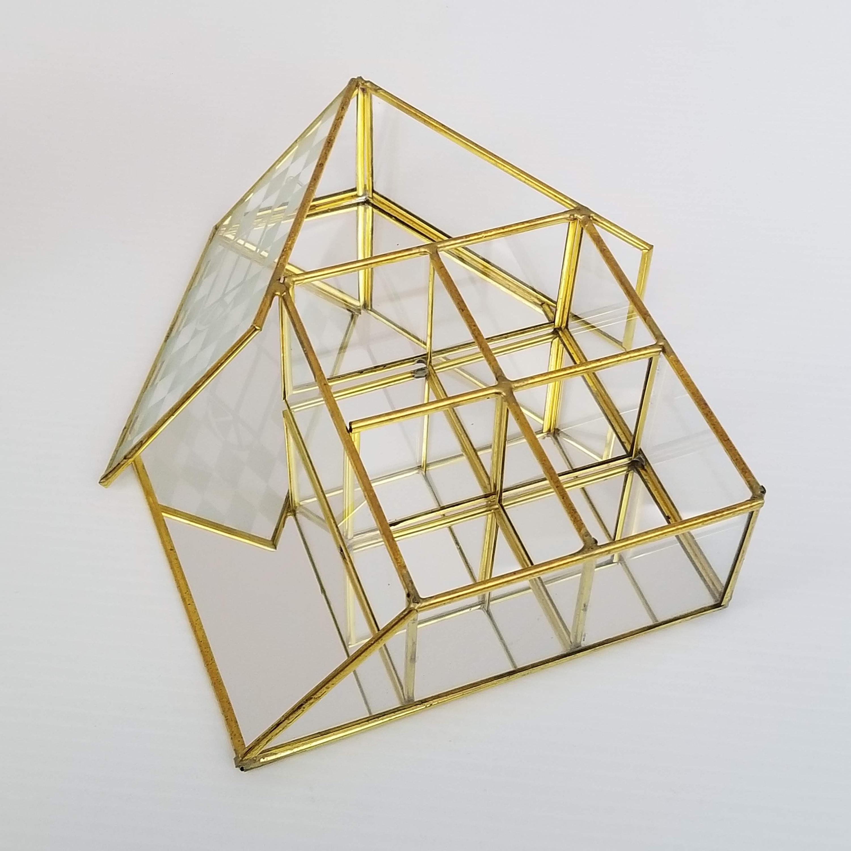 Vintage Brass Glass Mirror Curio Cabinet House Display