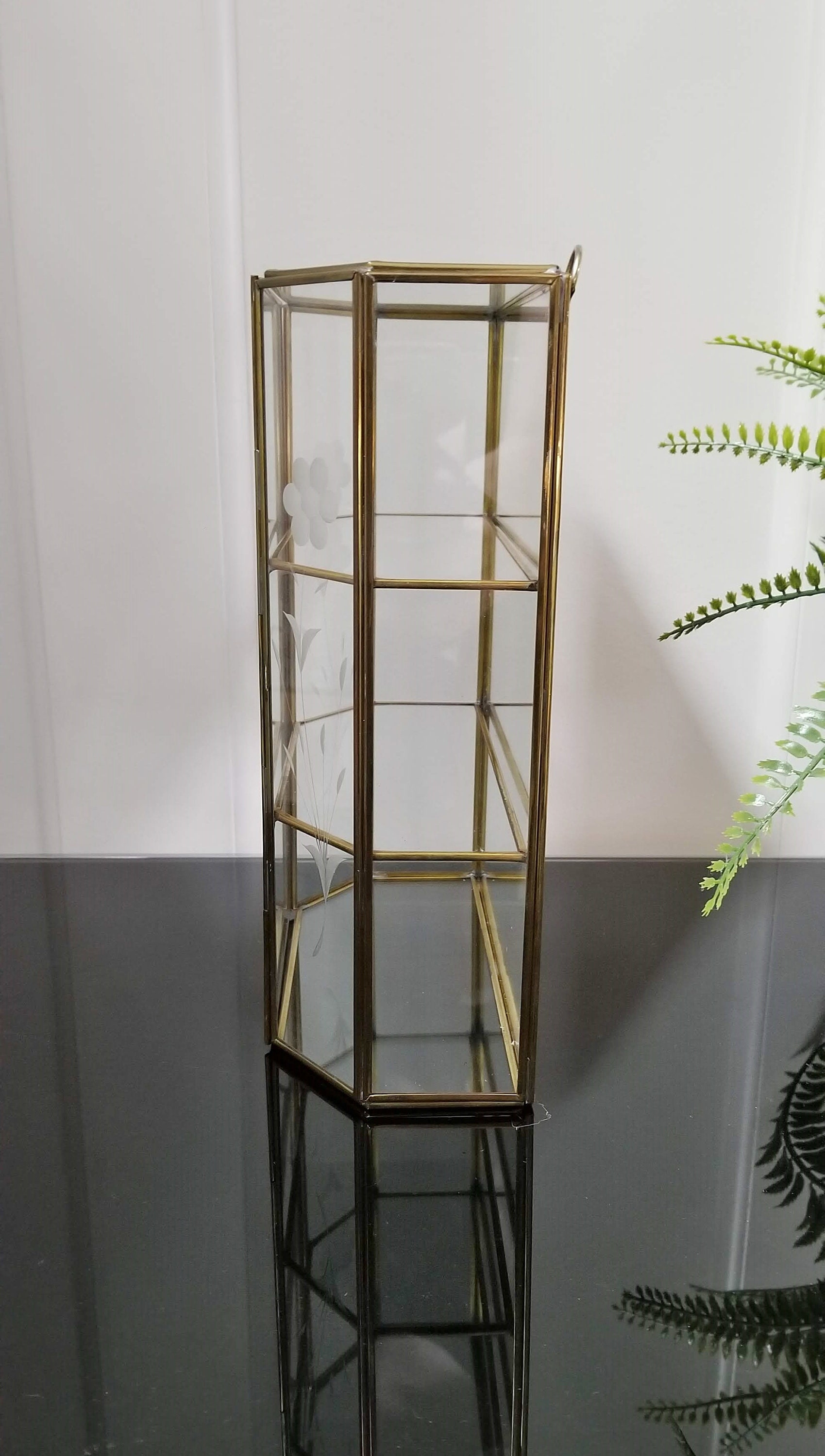 Brass Glass And Mirror Curio Hexagon Cabinet Display