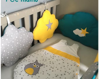 Round bed clouds in gray cotton starry, mustard yellow and peacock blue with stars