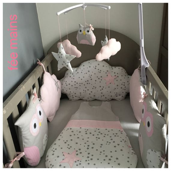 Tour de lit bébé fille en forme de chouettes et nuages nuages | Etsy