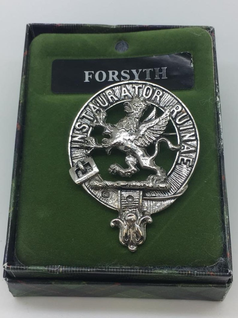 Pewter Scottish Clan Crest Badge/Brooch  Made in Glasgow Scotland FORSYTH