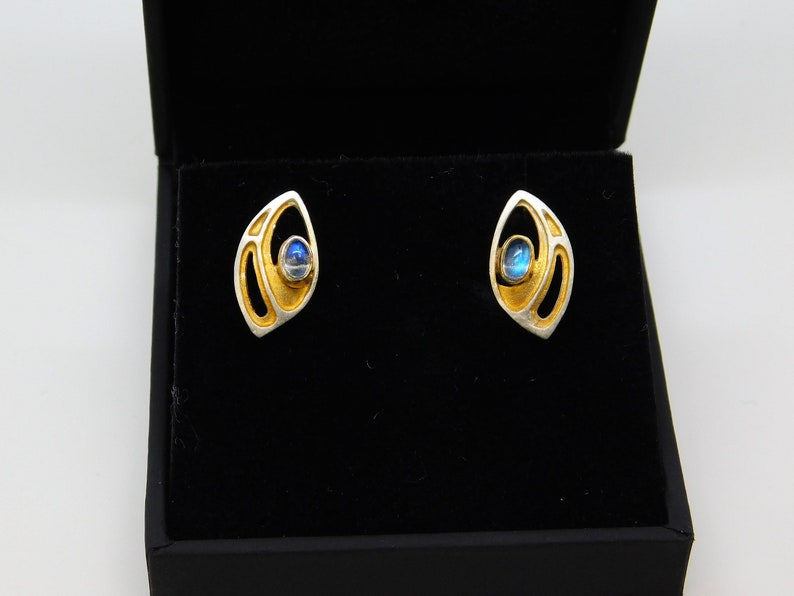 Paula Bolton Seashell Collection Designer Sterling Silver and 18ct Yellow Gold Plated Earrings with Labradorite