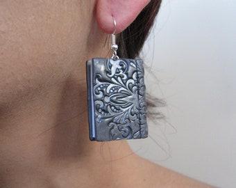 Silver Drop Earrings Book For Her Mini Jewelry 925 Hook Cute Gift Readers Lover