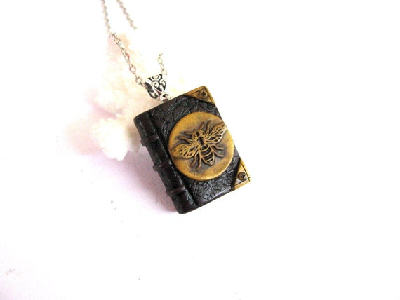 Good luck jewelry gift Bookworm gift Miniature book charm handmade necklace Tree of life necklace Mini book charm necklace Bee jewelry